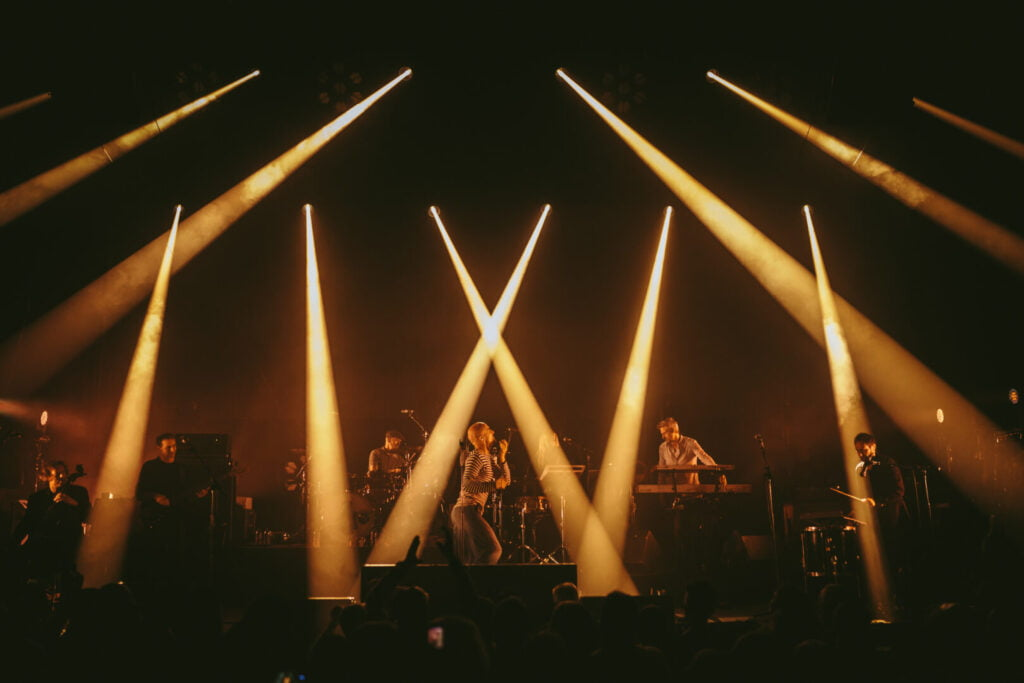 Strobe lights shining on the stage at Middlesbrough Town Hall during a performance