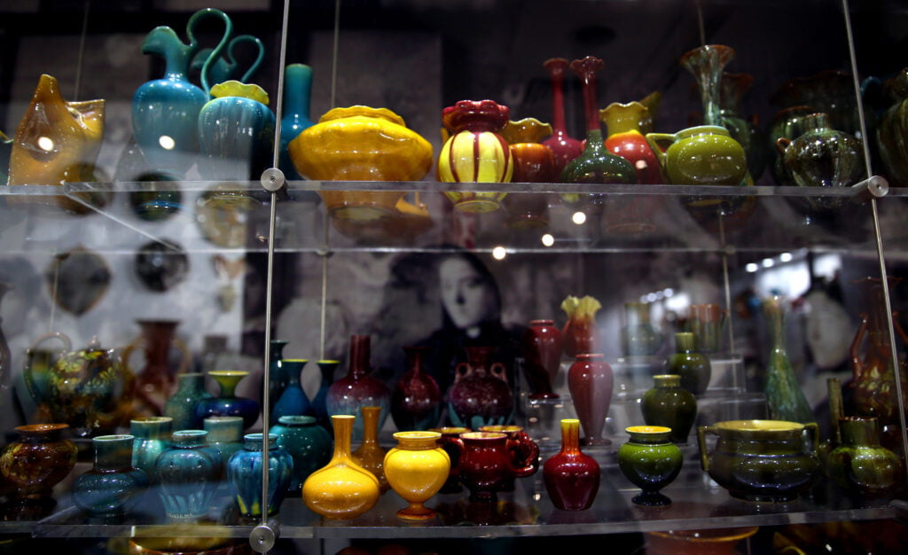 A colourful display of Linthorpe Art Pottery at the Dorman Museum