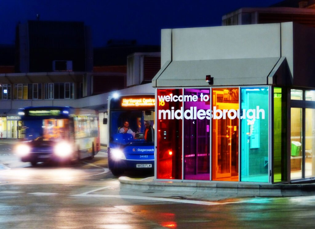 Middlesbrough bus station at night